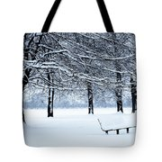 Bench In Snow Tote Bag