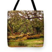 Bench In The Garden Tote Bag