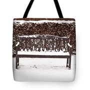 Bench In The Snow Tote Bag