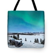 Bench Looking On Lake Laberge With Northern Lights Tote Bag