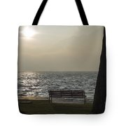 Bench On A Foggy Lake Front Tote Bag