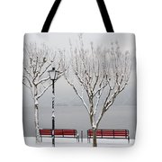 Bench On Lakefront In Winter Tote Bag