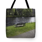 Bench On Shore Of River Ness In Inverness Tote Bag