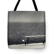 Bench On The Winter Shore Tote Bag