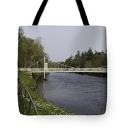 Benches And Suspension Bridge Over River Ness Tote Bag