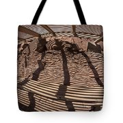 Benches At Meteor Crater In Arizona Tote Bag