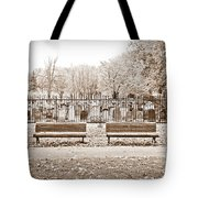 Benches By The Cemetery In Sepia Tote Bag