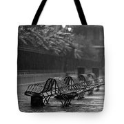 Benches In The Rain Bw Tote Bag