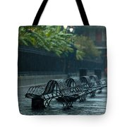 Benches In The Rain Tote Bag