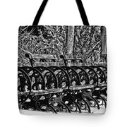 Benches In The Snow - Bw Tote Bag
