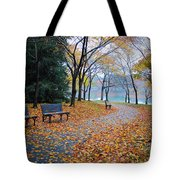 Benches Of Fall Tote Bag