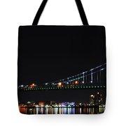 Benjamin Franklin Bridge At Night Panarama Tote Bag