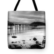 Bennet Bay Pier Black And White Tote Bag