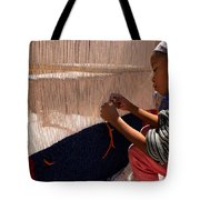 Berber Girl Working On Traditional Berber Rug Ait Benhaddou Southern Morocco Tote Bag