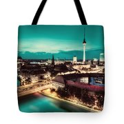 Berlin Germany Major Landmarks At Night Tote Bag