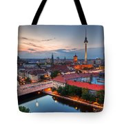 Berlin Germany Major Landmarks At Sunset Tote Bag