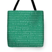 Berlin In Words Algae Tote Bag