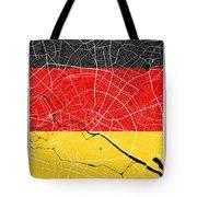 Berlin Street Map - Berlin Germany Road Map Art On German Flag Background Tote Bag