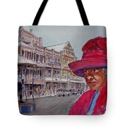 Bermuda Lady In Red And Cop Tote Bag