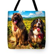 Bernese Mountain Dog And Leonberger Among Wildflowers Tote Bag