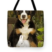 Bernese Mountain Puppy And Rabbit Tote Bag