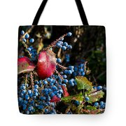Berries And Red Leaves After The Rain Tote Bag