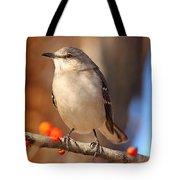 Berry Happy Mockingbird Tote Bag