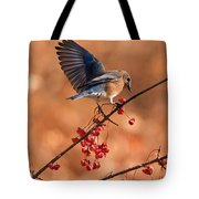 Berry Picking Bluebird Tote Bag