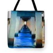 Beside The Cool Blue Waters Tote Bag by Jimi Bush