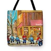 Best Sellers Original Montreal Paintings For Sale Hockey At Beauty's By Carole Spandau Tote Bag