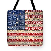 Betsy Ross American Flag Michigan License Plate Recycled Art On Red Board Tote Bag