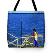 Between Sky And Sea Lachine Canal Viewing Pier Picturesque Water Scenes Montreal Art Carole Spandau Tote Bag