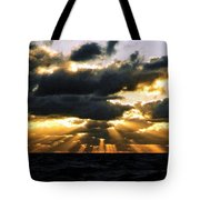Crepuscular Biblical Rays At Dusk In The Gulf Of Mexico Tote Bag