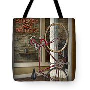 Bicycle Attached To Wall Outside Of Fast Food Restaurant Tote Bag
