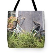 Bicycle Basket Of Flowers Painterly Effect Tote Bag
