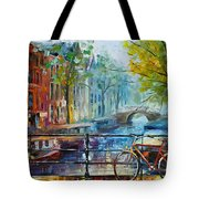 Bicycle In Amsterdam Tote Bag by Leonid Afremov