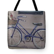 Bicycle Leaning On A Wall Tote Bag