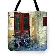 Bicycle Of Santorini Tote Bag