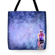 Bicycle Rider On Blue Background Tote Bag
