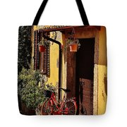 Bicycle Under The Porch Tote Bag