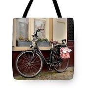Bicycle With Baby Seat At Doorway Bruges Belgium Tote Bag