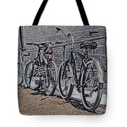 Bicycles On A Rail Tote Bag