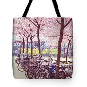 Bicycles Under The Blooming Trees. Pink Spring In Amsterdam  Tote Bag
