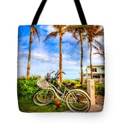 Bicycles Under The Palms Tote Bag
