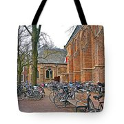 Bicycling To Church Tote Bag