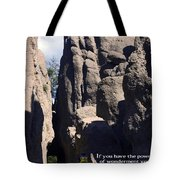 Bicyclist And Granite Spires Tote Bag