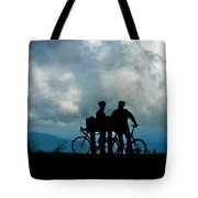 Bicyclists In The Clouds Tote Bag