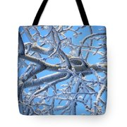 Bifurcations In White And Blue Tote Bag
