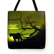 Big Cat Silhouette -  Use Red-cyan 3d Glasses Tote Bag
