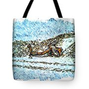 Big Cat - Sometimes They Fall - Winter - Snow - Slippery Slope  Tote Bag